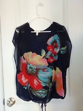 Dress Barn Blue Floral Short Sleeve Blouse Size Small Excell. Cnd