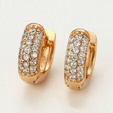 Small 18ct Gold Filled Clear CZ Crystal 10mm Sleeper Huggie Hoop Earrings UK