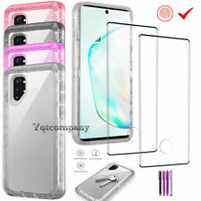 For Samsung Galaxy Note 10 Plus Clear Case Hybrid Cover+Tempered Glass Protector