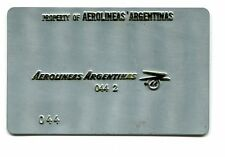 Vintage Airline Ticket Validation Metal Plate AEROLINEAS ARGENTINA  travel agent