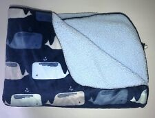 """New listing Cloud Island Baby Blanket Reversible Plush Blue Whale 30"""" x 40"""""""