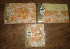 Vintage Royal Family By Cannon Orange Peach Yellow Flowers Double Bed 4 Pc NIP