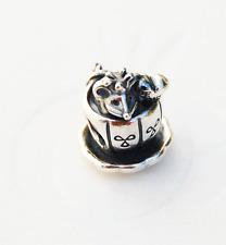 """Gen. Pandora Silver Charm """"Fairytale Mouse"""" Mouse in Teacup - 791107 - retired"""