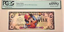 2008A $5 Mickey 80 Disney Dollar Graded By PCGS Gem New 65PPQ, A00003423