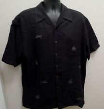 Ocean Pacific Button Front Embroidered Swordfish & Hut Hawaiian Camp Shirt Large