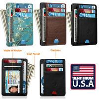 RFID Blocking Card Holder Wallets For Men Credit Card Slots Front Pocket Wallet