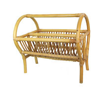 Vtg Mid Century Bamboo Rattan Magazine Rack Stand After Franco Albini
