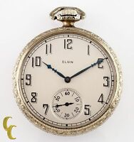 Vintage Elgin White Gold Filled Open Face Pocket Watch 17 Jewels Size 12 1925