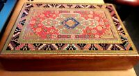 BN! Attractive Lithographed Lidded Wooden Trinket Box 15.5 x 11 x 3.25 cms  VGC
