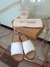 New Women's Henry Beguelin White Leather Slides With Seed Bead Detail Size 38.5