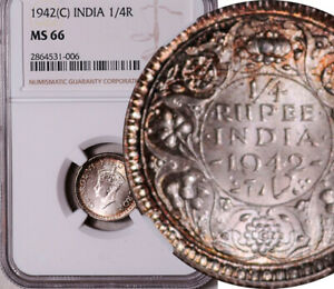 NGC MS-66 INDIA (BRITISH) SILVER 1/4 RUPEE 1942 (ONLY 1 HIGHER! POP: 3/1) LOT #2
