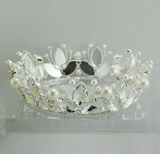 Beauty Pageant Queen Bridal Wedding Floral Pearl Rhinestone Tiara Full Crown NEW