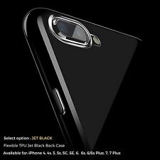 Jet Black Case For Apple iPhone 8 X 7 6 6s Plus 5c SE Gel Silicone Rubber Cover