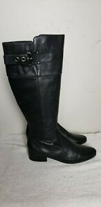 Marc Fisher Women's Black Leather Zip Up Knee High Riding Boots sz 5.5