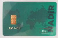 0.5 gram gold bullion bar 1/2 gram 9999 Fine 24K goldbarren lingotes gift CARD