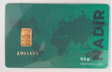 0.5 gram gold bar 1/2 gram Gold Bar .9999 Fine 24 karat Nadir gold