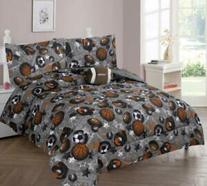Gray Orange Football All Star Sports 8 pc Comforter Sheet Set Twin Full Bed Bag