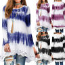 Women's Casual Loose Long Sleeve Print Tie Dye Pencil Tunic Top Lace Hem Blouse