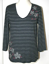 Maine UK14 EU42 new navy and grey striped 3/4 sleeve top with floral embroidery