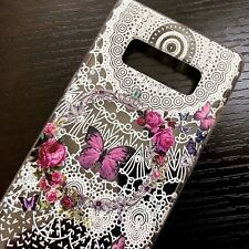 For Samsung Galaxy Note 8 - TPU RUBBER SILICONE CASE COVER PINK BUTTERFLY FLOWER