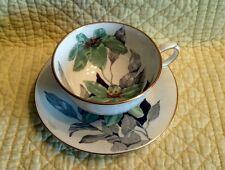 Windsor Bone China Tea Cup & Saucer Green Gray Floral & Gold Trim England  D