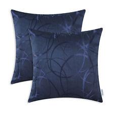 2Pcs Navy Blue Pillow Cushion Throw Covers Modern Circle Rings Geometric 50x50cm