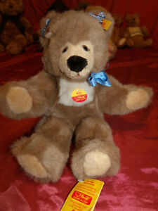 "Vintg. Steiff 14"" Molly Teddy W/ All Tags & Button in Ear & Bows BEAUTIFUL COND!"