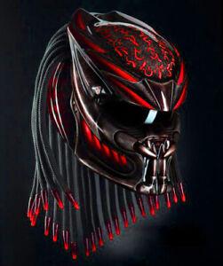 Custom Predator Helmet Red Margin Line Style (APPROVED DOT/ECE)