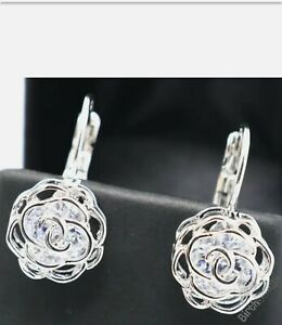 Unique Round Moissanite Flower Earrings Women Jewelry 14K White Gold Plated