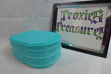 Tupperware fridge stackables deli meat cheese keeper stacking trays aqua blue