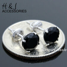 925 Sterling Silver 7Mm Black Round Lab Diamond Screw Back Stud Earring*E88