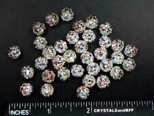 36 Genuine Swarovski Rhinestone Bead Balls 8mm Crystal AB Sterling Silver, C44