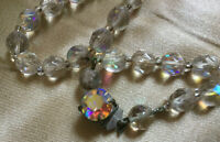 VINTAGE Rainbow Aurora Borealis Graduated Necklace Small Beads Beaded Clasp #2