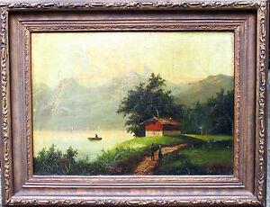 ROMANTISCHER ALPENSEE orig. Ölbild Leinwand dat.1881 signiert + Rahmen, 86x66cm