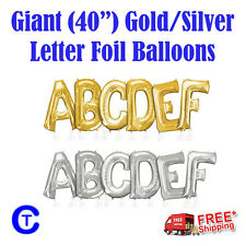 "Gold & Silver 40"" 100cm Letter Foil Balloons Party"