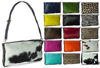 Big Handbag Shop Large Genuine Italian Leather with Fur Zip Clutch Shoulder Bag