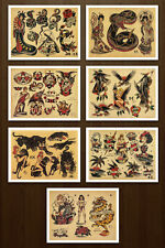 8.5x11 Sailor Jerry Classic Set 2 Vintage Tattoo Flash Design Sheets Prints Art