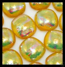 Lot of 6 RIPPLE AMBER Fused Glass DICHROIC Cabs Beads