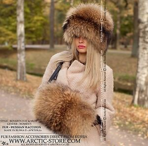 Russian raccoon Fur hat & hand-muff. Set of chapka and muff in gold brown color.