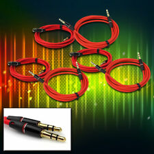 3X NEW 3.5MM AUX EXTENSION AUDIO CABLE CORD RED APPLE IPHONE 5 4S IPOD CLASSIC