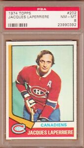 1974-75 TOPPS # 202 JACQUES LAPERRIERE PSA 8 NM-MT MONTREAL CANADIENS