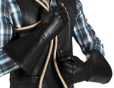 HOMBRE MUJER Jedi LARP Medieval Disfraz de Vaquero Negro Largo Guantes NUEVO