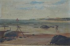 H Warren Old Painting Boy in the Beach by The Seashore Oil on Canvas Signed