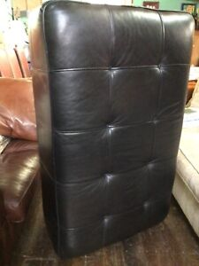 Pouffe Footstool Genuine Leather Large Ottoman Seat Vintage Black 130*80*45cm