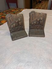 Antique Weidlich Brothers Heavy Bronze Bookends Pair Owl Family & Gothic Castle