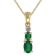 9 carati oro giallo 0,63 Ct NATURAL EMERALD & DIAMOND CIONDOLO sulla catena