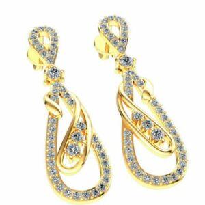 Natural 0.65ct Round Cut Diamond Ladies Looping Dangle Earrings 18K Gold