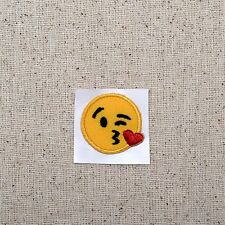SMALL Smiley Face Emoji Blowing Kiss Cheek - Iron on Applique/Embroidered Patch