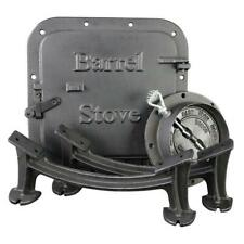 Barrel Camp Stove Kit Heavy Duty Cast Iron Fireplace Accessories Parts Black