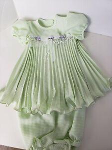 Girls Green White Checkered Dress 2 Pc  by Jessica  18 M